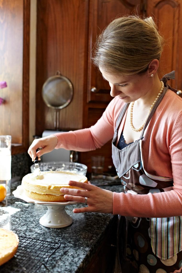 Assembling the cake!